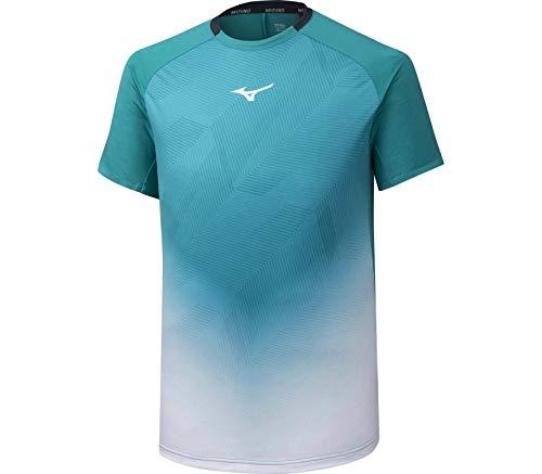Mizuno Shadow Graphic T-Shirt Homme, Herbe Blanche et Bleue, M