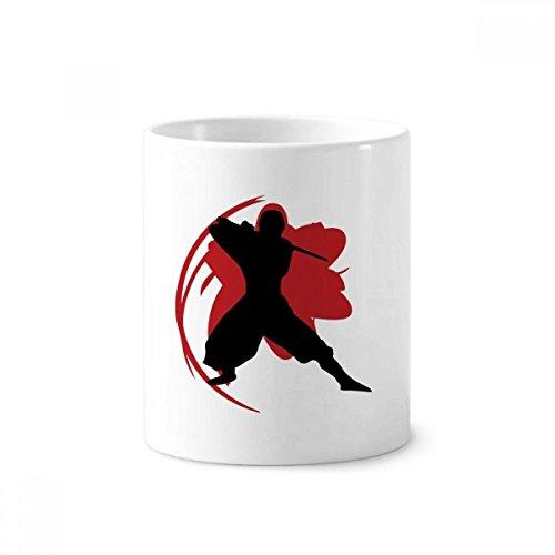 DIYthinker Titular de cerámica Bushido Samurai Katana Sakura la silueta taza de Japón Cepillo de dientes pluma blanca Copa 350ml regalo 9,6 cm de alto x diámetro 8.2cm