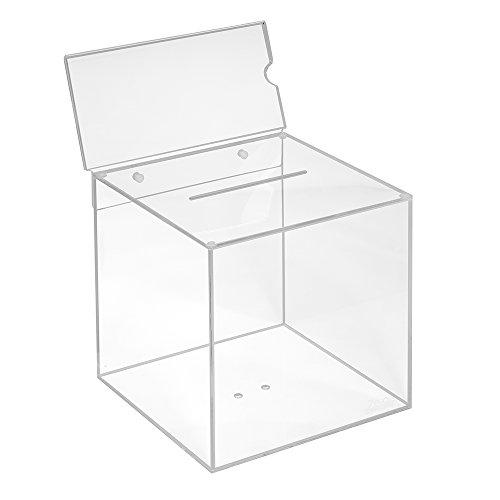 Votaciones de acrílico cristal en 200x 200x 200mm con pizarra DIN Largo Horizontal–zeigis/Dona Caja/caja/sorteo bicicletaDerbystar parte Box/transparente/transparente/acrílico/Plexiglas