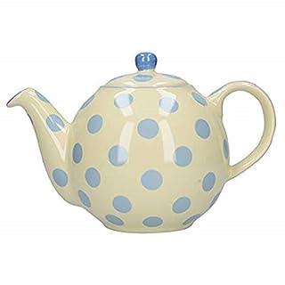 London Pottery Globe Polka Dot Teapot with Strainer, Ceramic,  Ivory/Blue, 4 Cup Capacity (900 ml) (B0012N2GA6)   Amazon price tracker / tracking, Amazon price history charts, Amazon price watches, Amazon price drop alerts