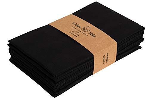 Urban Villa Küchentücher, Premium-Qualität, Uni Satin Stoff 100% Baumwolle Geschirrtücher, Ultra weich (Größe: 51x76 cm) Schwarze, hochsaugfähige Barhandtücher und Geschirrtücher - (6er-Set)