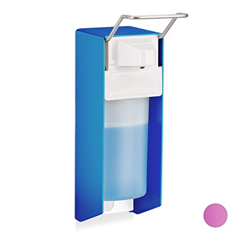 Relaxdays Eurospender, 500 ml, Desinfektionsmittel, Seife, Ellenbogen-Hebel, Wandbefestigung, Hygienespender, blau