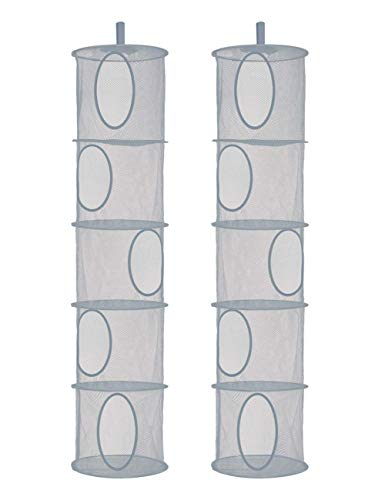 Libeder Mesh Hanging Storage Space Saver Bags Organizer,Foldable Storage Organizer 5 Compartments Toy Storage Basket for Kids Room Bathroom 2 Sets Grey