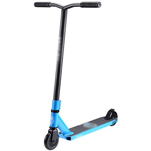 Patinete Fun Scooter Patinete De Truco Ligero Scooters De Acrobacias para Principiantes, Patineta Freestyle, para Niños Y Niñas (Color : Black+Blue, Size : 69 * 52 * 80cm)