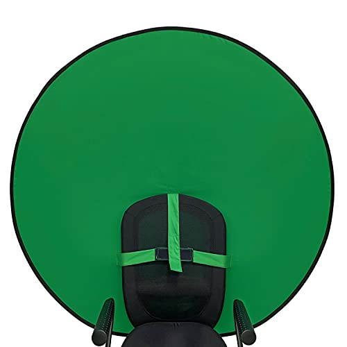 """Sutekus Portable Webcam Background Round Green Screen Chair Backdrop for Home Video Conference Zoom Skype, 57"""""""