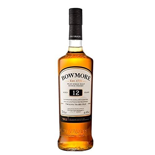Bowmore 12 Jahre Single Malt Scotch Whisky, mit Geschenkverpackung, ausgewogen mit rauchigen Geschmacksnoten, 40% Vol, 1x 0,7l