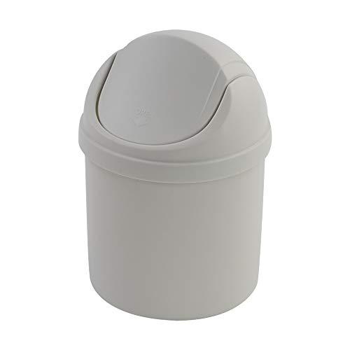 Zerdyne Mini cubo de basura de plástico de 2 L con tapa abatible, cubo de basura de escritorio, color blanco