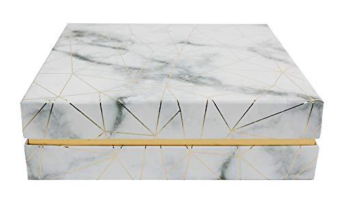 Emartbuy Caja de Regalo de Presentación de Lujo Rígida Cuadrada, 23.5 cm x 23.5 cm x 7 cm, Efecto de Mármol Blanco Con Líneas Doradas de Origami Y Interior a Cuadros Rosa