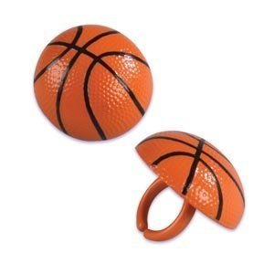 Basketball Cupcake Rings - 24 ct