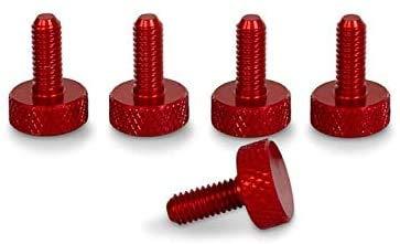 PrecisionGeek Tornillo de cabeza moleteada Aluminio Rojo M6 x 10mm 5pz