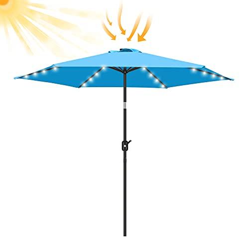 FRUITEAM 7 1/2 ft Solar LED Umbrella Solar Powered Umbrella Polyester LED Lighted Patio Umbrella w/Tilt Adjustment and Fade-Resistant Fabric - Sky Blue