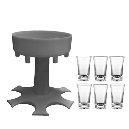 Moligin - Soporte para dispensador de 6 vasos de vidrio para colgar líquidos, con vasos de vidrio para bar, cerveza, cócteles