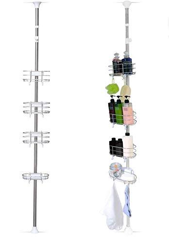 Iris Ohyama, Etagère d'angle téléscopique pour la douche sans perçage avec 4 paniers - 190 à 250 cm - Telescopik Rack BLT-25 - Blanc, 22 x 17,8 x 190-250 cm