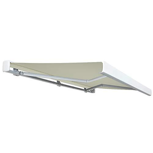 Lechnical - Práctico toldo eléctrico de exterior, toldo eléctrico retráctil de 350 x 250 cm, color crema – con conexión a pared estándar