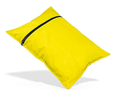 Elan Quest Inflatable Travel Pillow|Stuff Sack (Small, Yellow) - Comfortable Durable Washable Lightweight Reversible Water Resistant Camping Pillow Backpacking Pillow Case - Bring Your Own Stuffing