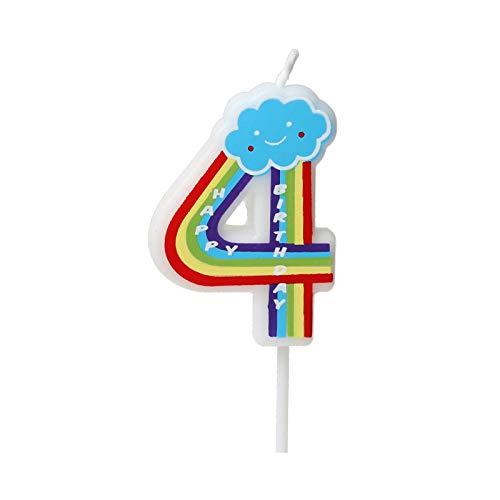 Birthday Rainbow Candle Number 0-9 Children Cute Birthday Cake Candle Party Cake Decoration (Number 4)