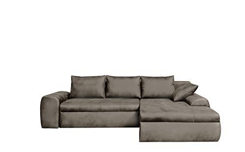 lifestyle4living Ecksofa mit Schlaffunktion und Bettkasten in Hell-Grau | Gemütliches Mikrofaser L-Sofa im Vintage-Look mit Stauraum inkl. 4 Rückenkissen