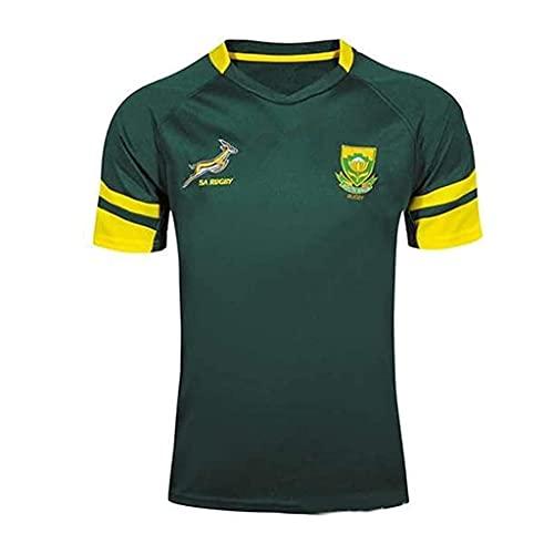 ZDVHM 2018-19 Sudáfrica Rugby Jersey 100% Poliéster Tela Transpirable Deportes Entrenamiento Camiseta Uniforme de Rugby Camisa de fútbol Camisetas de fútbol para los fanáticos