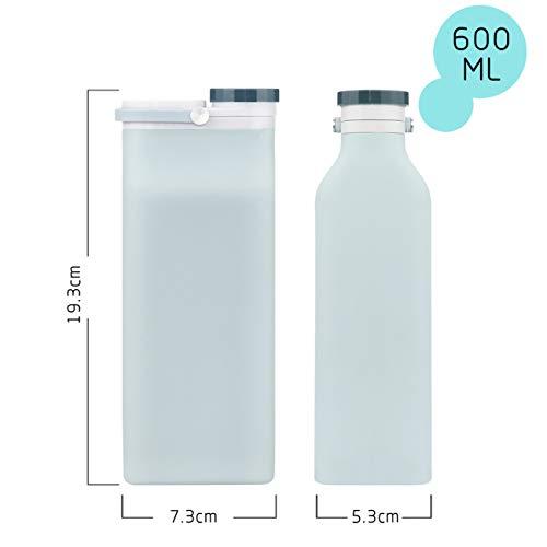 ANCES折りたたみ水筒、600mlスポーツアウトドア折りたたみ式ポータブル水筒-携帯便利超軽量耐冷耐熱無毒無臭旅行-シリコーンBPAFREE&PDA(白)
