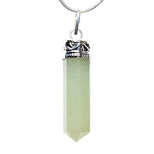 Selenite Charged Faceted Hand-Made Natural Green Aventurine Crystal Pendants + Selenite Heart Charging Crystal (Green Aventurine - Himalayan)