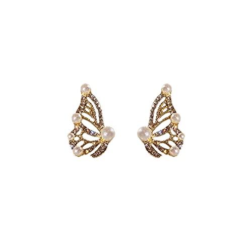HUALUWANG Pendientes de Aguja de Plata 925, Pendientes de Mariposa, Pendientes de Mariposa con Diamantes, Pendientes de Super Hadas, Pendientes de Diseño Personalizado