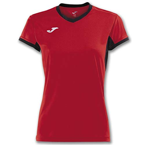 Joma Champion IV Camisetas Equip. M/C, Mujer, Rojo-Negro, S