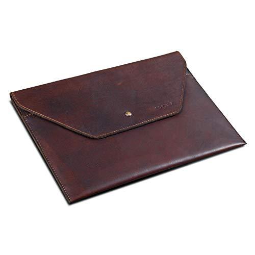 ROYALZ Vintage Ledertasche für Apple MacBook Air M1 / MacBook Pro M1 Schutzhülle 13,3 Zoll Sleeve Case Tablet Mappe Flach Echt-Leder Tasche, Farbe:Cognac Braun
