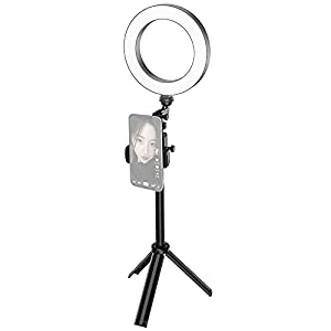 6 Inch Mini Smartphone Selfie Ring Light LED Beauty Light 3 Lighting Modes Dimmable with Tripod Selfie Stick Phone Holder for Live Streaming Online Video Makeup Selfie
