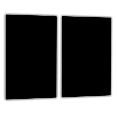 TMK | Herdabdeckplatten ceranfeld 2 Teilig 30x52 cm | Ceranfeldabdeckung Küche Elektroherd Induktion | Herdschutz Spritzschutz | Glasplatte Schneidebrett | Schwarz