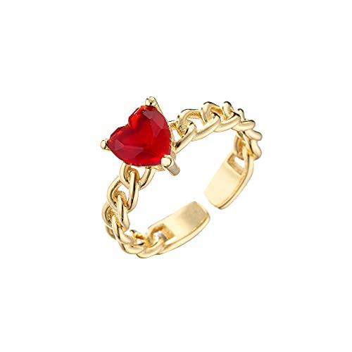 QWKLNRA Anillos Mujer Anillo De Corazón De Amor Exquisito Color Dorado Diamantes De Imitación Rojos Exquisita Piedra Circón Joyería Personalizada Estilo Vintage Regalo para Mujeres