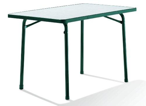 Sieger 120/S Garten-Klapptisch mit mecalit-Pro-Platte 115 x 70 cm, Stahlrohrgestell smaragdgrün, Tischplatte Marmordekor weiß