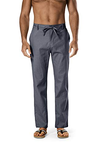 DELCARINO Men's Drawstring Linen Pant Elastic Waist Relaxed-Fit Casual Beach Trousers (Large, Charcoal)