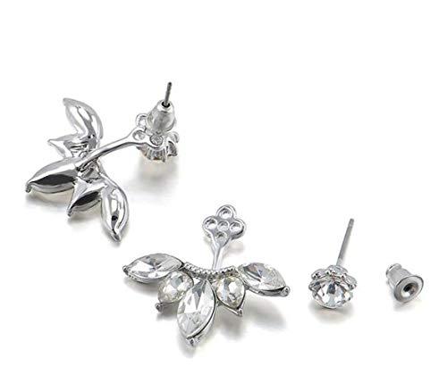 Orecchino a bottone da donna con orecchini in argento con strass a forma di fiore