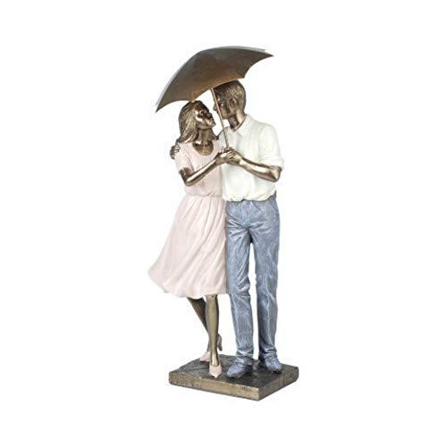 CAPRILO. Figura Decorativa de Resina Pareja Paraguas. Adornos y Esculturas. San Valentín. Decoración Hogar. Regalos Originales. 40 x 16 x 10 cm.