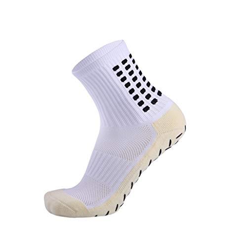 WanYangg Unisex Silikon Rutschfeste Sportsocken Dicke Fußball-Socken mit Handtuchboden Verschleißfeste, Classic Schweißabsorbierende, Atmungsaktive Weiß Einheitsgröße