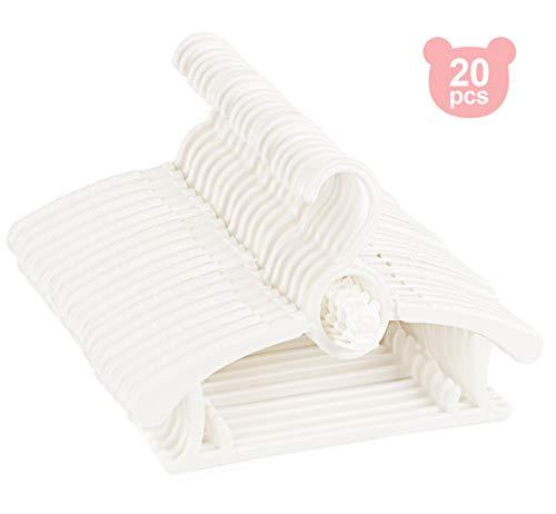 Homewit 20Stk Kleiderbügel Kinder Baby Rutschfeste Kleiderbügel mit Einstellbar 29-37cm Die mit Ihrem Kind wachsen. Platzsparend mit stapelbaren Bärenhaken - Weiß