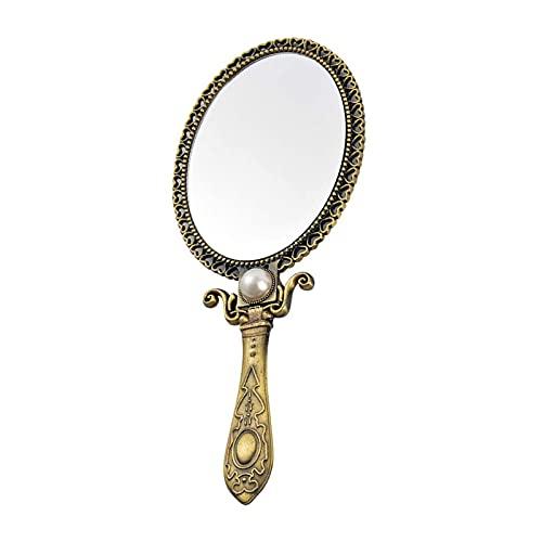 Espejo de Mano Vintage Espejo de Maquillaje Ovalado Plegable con Mango Espejo de Vanidad Bolsillo Cosmético Espejo para Mujeres Mujeres y niñas