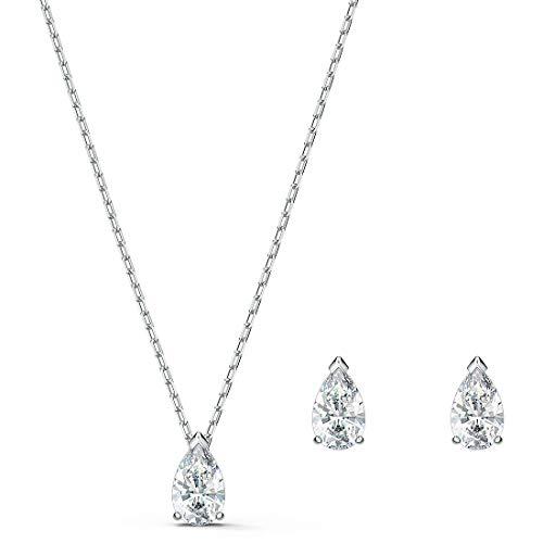 Swarovski - Juego de collar y pendientes de cristal redondo para mujer, diseño de cristales azules con metal chapado en rodio 14 7/8 / 1/4 X 1/8
