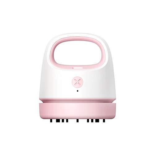 Dantazz Mini aspirador de mesa, alta potencia de succión, limpiador de polvo, aspirador de mesa para la limpieza de migas, recipiente colector desenroscable, con cable de carga (rosa, 10 x 9 cm)