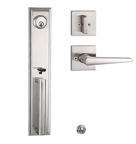 Entry Door Lock Set with Suqare Lever Handle Satin Nickel - Left or Right Opening Lever Lock Pulls Heavy Duty Lockset (Keyed Handleset, Satin Nickel-2011)