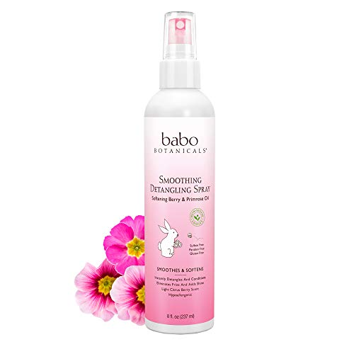 Babo Botanicals Smoothing Detangling Spray with Natural Berry and Evening Primrose Oil, Hypoallergenic, Vegan, for Babies and Kids - 8 oz.