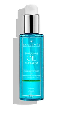 Bellemes Spirulinus Therapist Oil Hair Treatment | Original Leave in Multi-Functional Treatment and Conditioner Infused with Spirulina and Rosemary Extracts for All Hair Types 100ml | 3.4fl.oz
