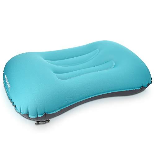 Navaris Camping Kissen aufblasbar leicht - Strandkissen Reisekissen Sitzkissen - Ergonomisches Nackenkissen - Aufblasbares Kopfkissen in Türkis