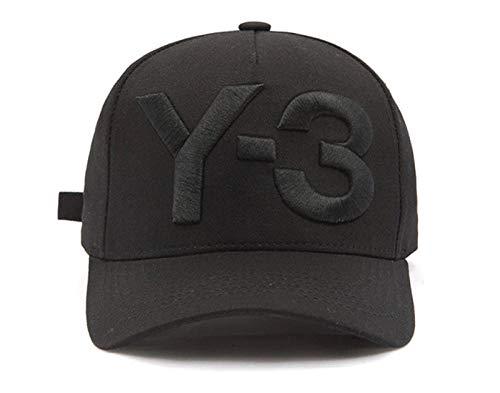 QIANWEIXI Baseball Cap Herren Schwarzes Gesticktes Hut-Hip-Hop-Baseballmütze-Justierbares Strapback des Buchstaben Y-3 Hutsportmütze Im Freien