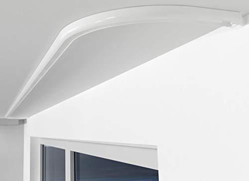 ALOHA Gardinenschiene aus Aluminium Vorhangschienen, Deckenbefestigung 1-läufig für Schiebevorhänge, Vorhänge (SAO / 1-läufig / Rundbogen Links / Weiß)