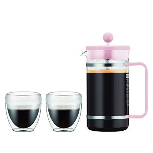 Bodum K1508-340-10-Y19 BISTRO Kaffeebereiter, 8 Tassen, 1.0 l mit 2 doppelwandigen 0.25 l PC Bechern, Glas