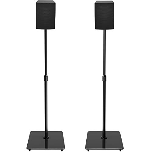"""PERLESMITH Universal Speaker Stands with Tempered Glass Base - 21"""" to 38"""" Height Adjustable Speaker Stands for Small Bookshelf & Satellite Speakers Weight up to 6lbs - 1 Pair (Model: PSSS4)"""
