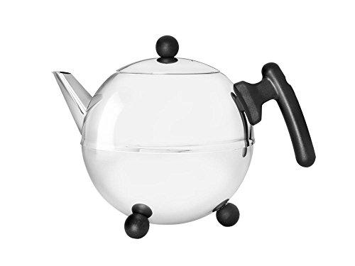 doppelwandige Teekanne Duet® Bella Ronde Edelstahl glänzend schwarze Beschläge 1,2 ltr.