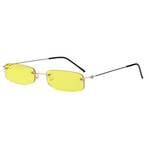 WZYMNTYJ schmale Sonnenbrille für männer Gold metallrahmen schwarz kleines rechteck randlose Sonnenbrille Frauen zubehör heißer
