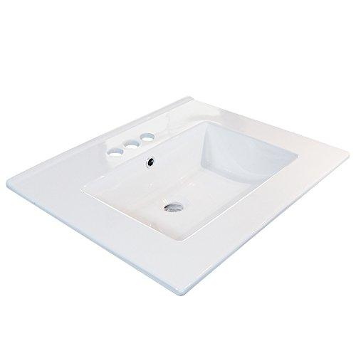 24' Rectangle Drop in Vessel Sink, White Bathroom Sink Ceramic Porcelain...